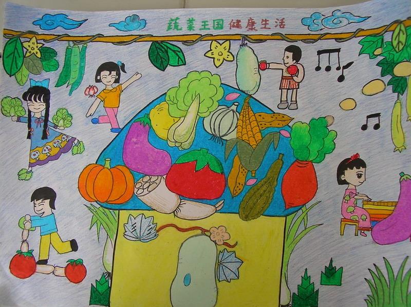 领巾追逐中国梦儿童画